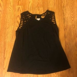 Black Tank Top with Cutout Shoulders